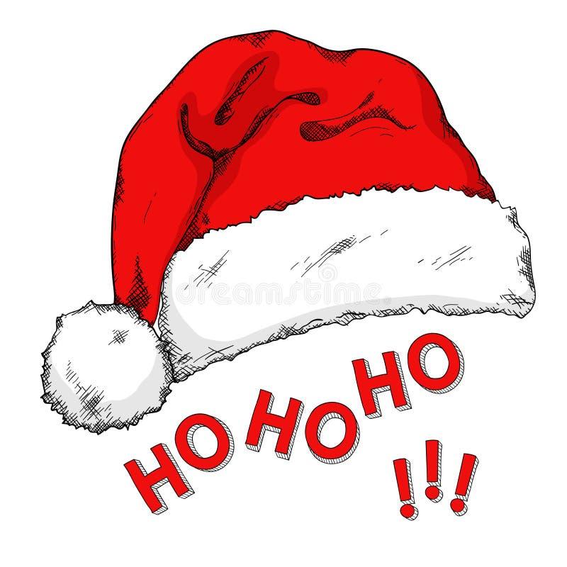 Cartoon Santa`s hat isolated on white. Hand drawn doodle royalty free illustration