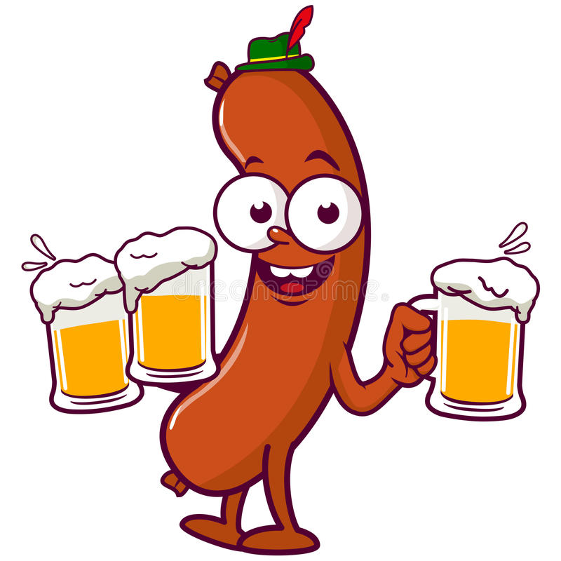 Cartoon Sausage serving beer royalty free illustration