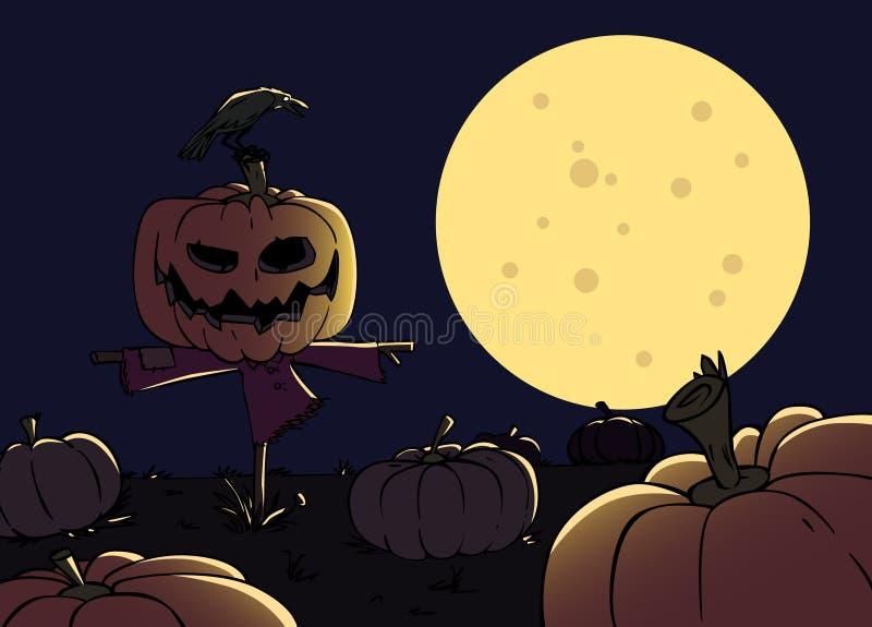 Cartoon Scarecrow With A Pumpkin Stock Photo