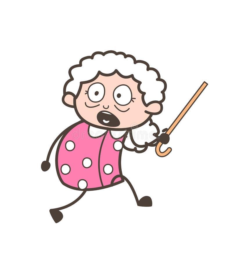 Cartoon Scared Grandma Running Vector Illustration stock illustration