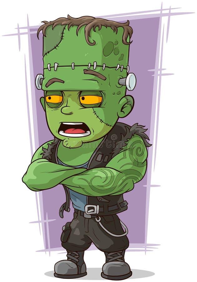 Cartoon scary green monster Frankenstein stock illustration