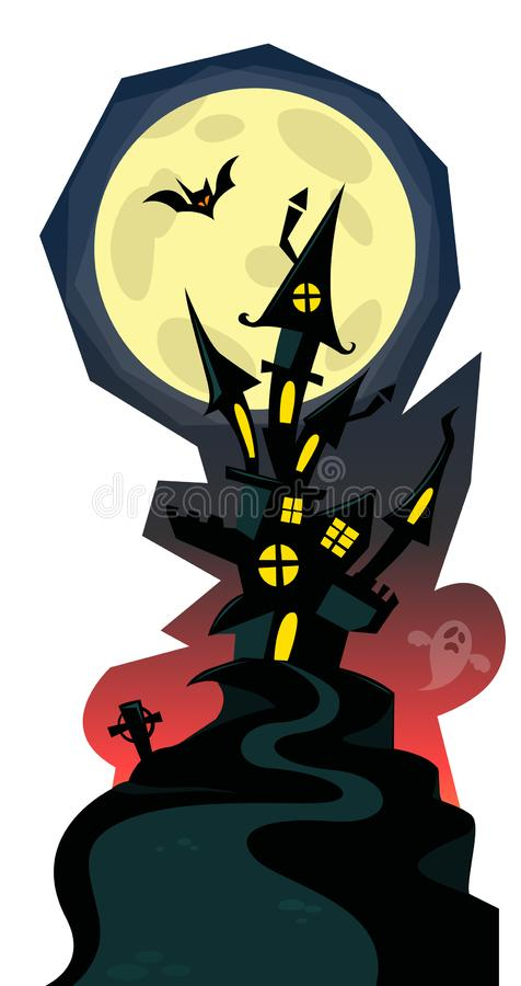 Cartoon scary haunted house. Halloween vector illustration royalty free stock photo