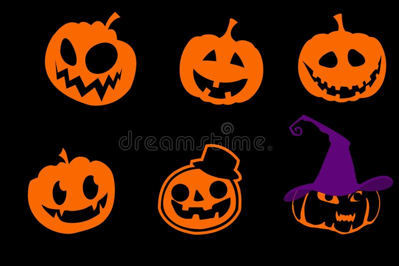 Cartoon scary pumpkins isolated on black background stock illustration