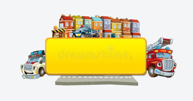 Cartoon scene with banner - title page with city facade cars and street with fire brigade police ana ambulance - illustration for vector illustration