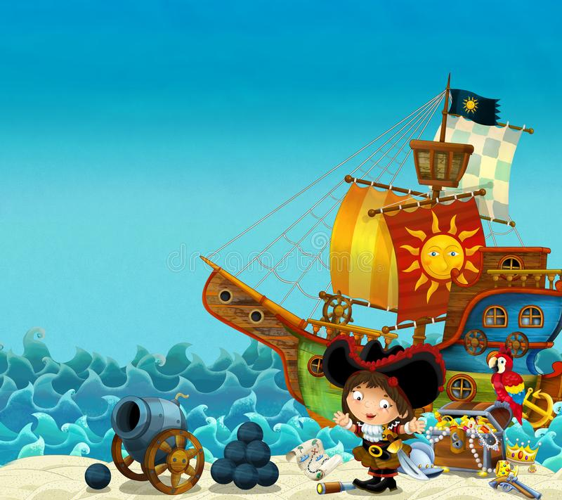 Cartoon scene of beach near the sea or ocean - pirate captain woman on the shore with cannon and treasure chest - pirate ship - stock illustration