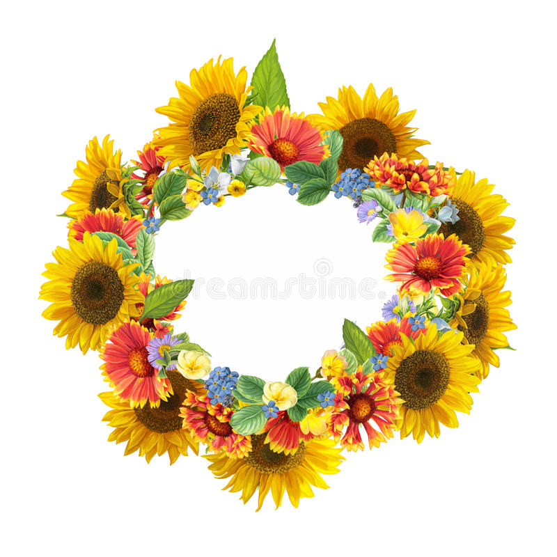 Download Cartoon Scene With Beautiful And Colorful Sunflowers Frame On White Background Stock Illustration