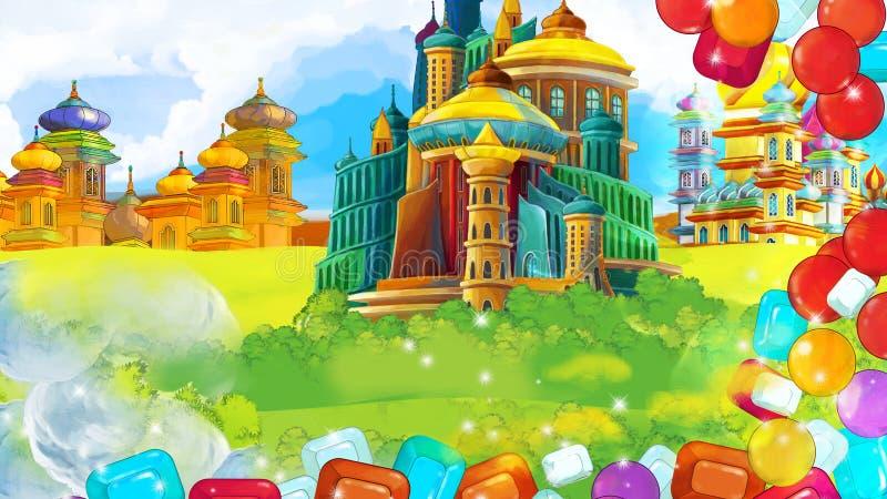 Cartoon scene with beautiful medieval castles with treasure frame - far east kingdom - illustration vector illustration