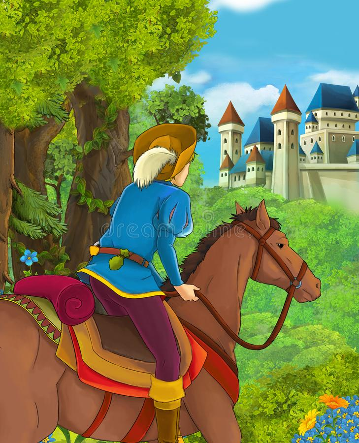 Cartoon scene of beautiful prince in the forest near castle in the background royalty free illustration