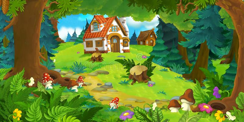 Cartoon scene with beautiful rural brick house in the forest on the meadow. Illustration for children royalty free illustration