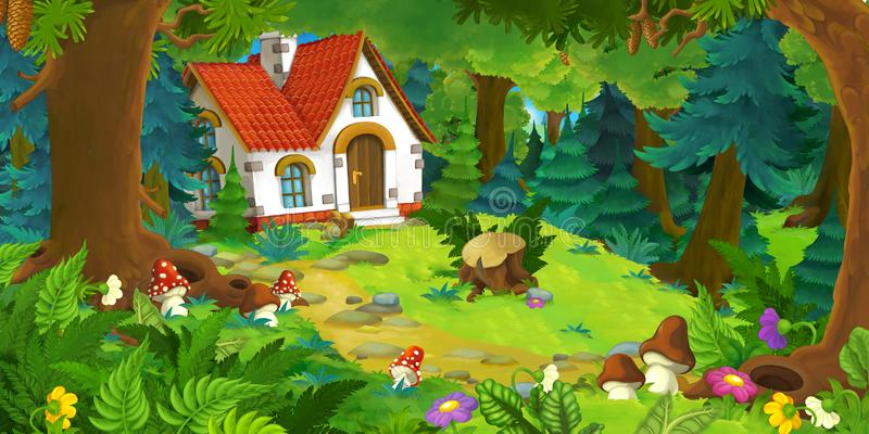 Cartoon scene with beautiful rural brick house in the forest on the meadow. Illustration for children stock illustration