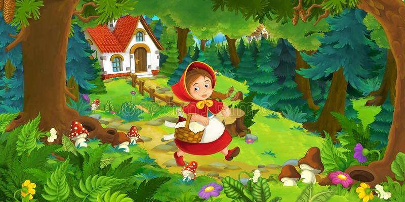 Cartoon scene with beautiful rural brick house in the forest on the meadow. Illustration for children vector illustration
