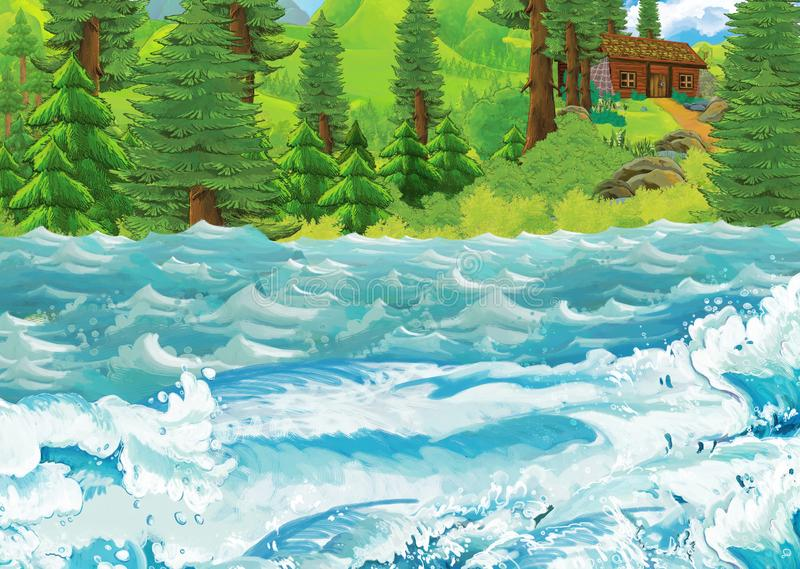 Cartoon scene of beautiful shore or beach by the ocean or sea near some forest with wooden house on the hill - illustration for. Children stock illustration