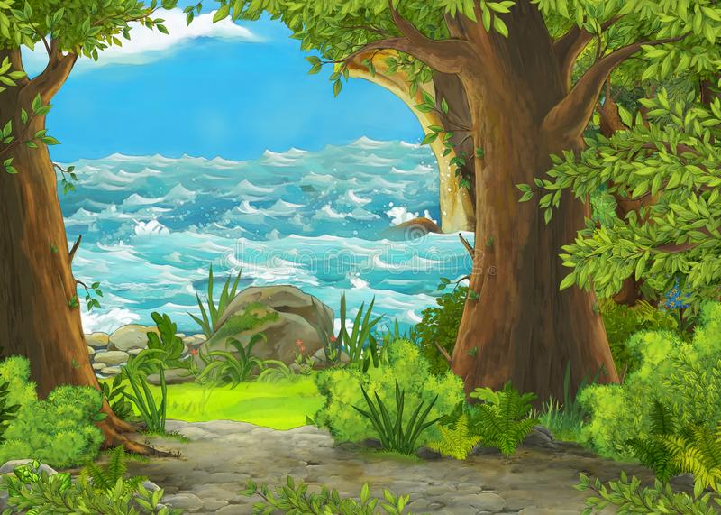 Cartoon scene of beautiful shore or beach by the ocean or sea near some forest with wooden house on the hill - illustration for. Children vector illustration