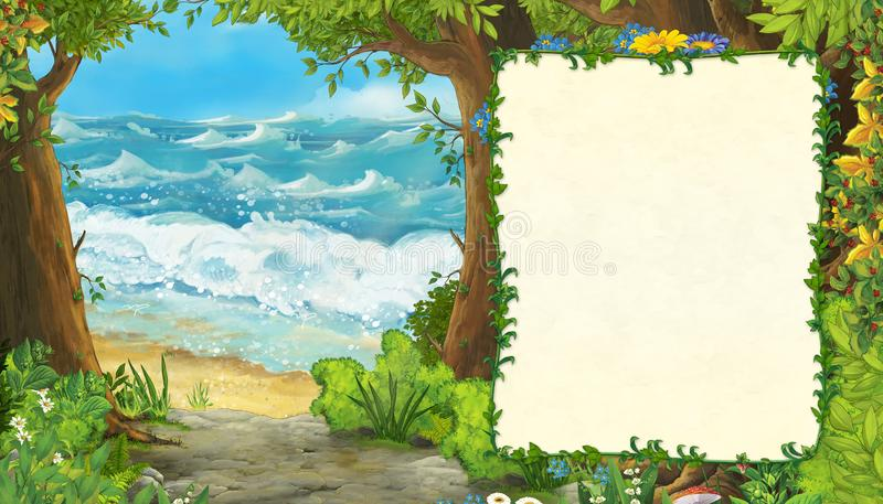 Cartoon scene of beautiful shore or beach by the ocean or sea near some forest with wooden house on the hill - illustration for. Children royalty free illustration