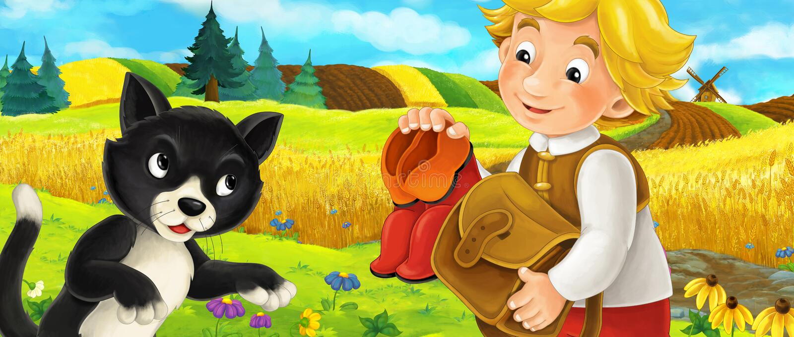 Cartoon scene of cat and a boy on the farm field - boy is giving a gift to a cat royalty free illustration