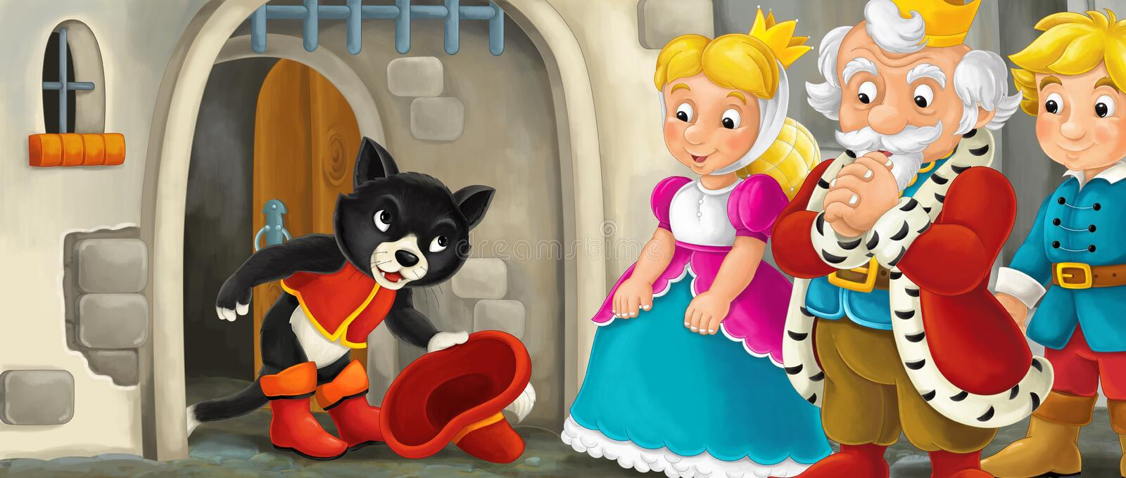 Cartoon scene with cat greeting royal pair by the castle royalty free illustration