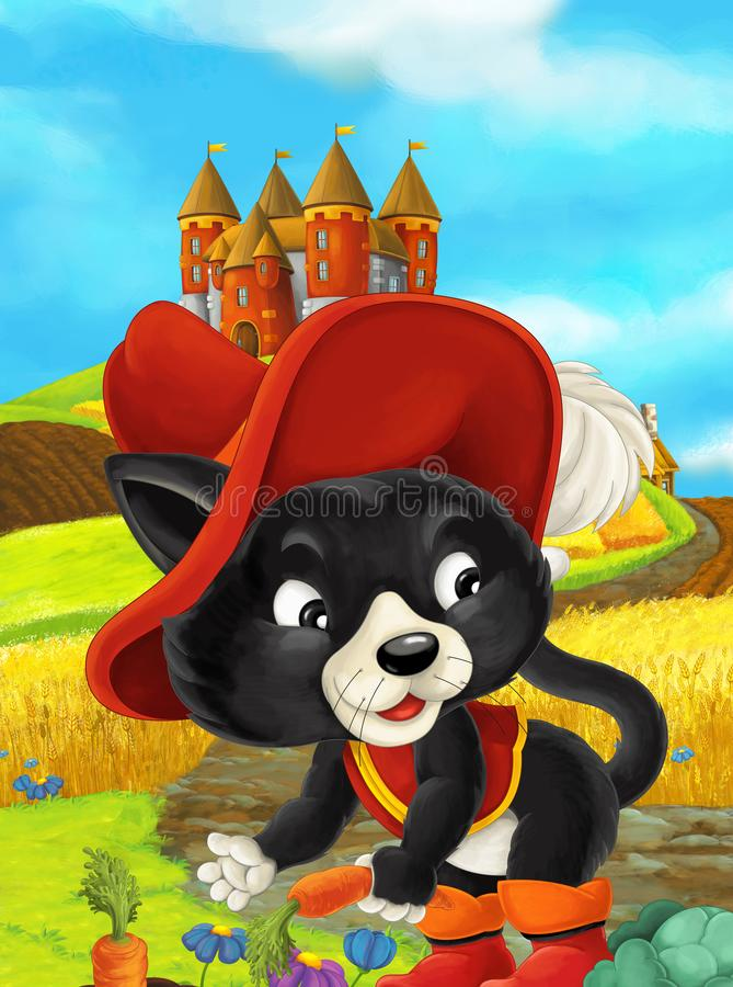 Cartoon scene of a cat traveling to a beautiful castle vector illustration