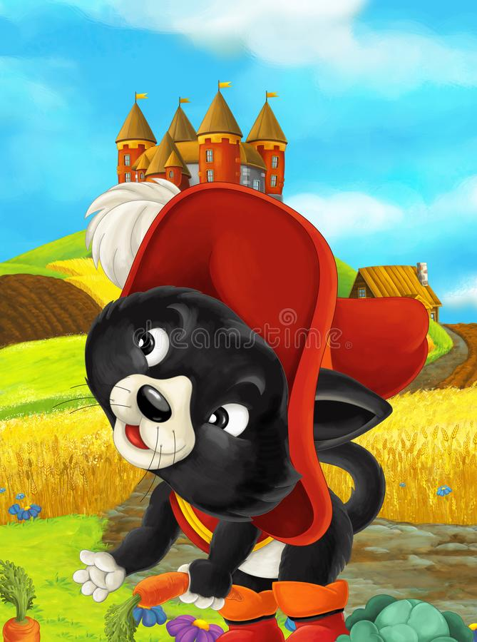 Cartoon scene of a cat traveling to a beautiful castle stock illustration