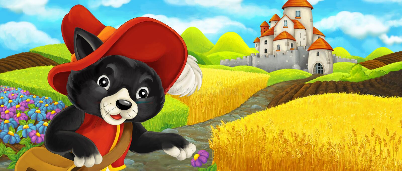 Cartoon scene - cat traveling to the castle on the hill near the farm ranch royalty free illustration
