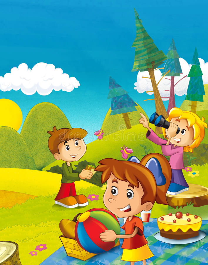 Cartoon scene with children having fun in the mountains. Beautiful and colorful illustration for the children - for different usage - for fairy tales stock illustration