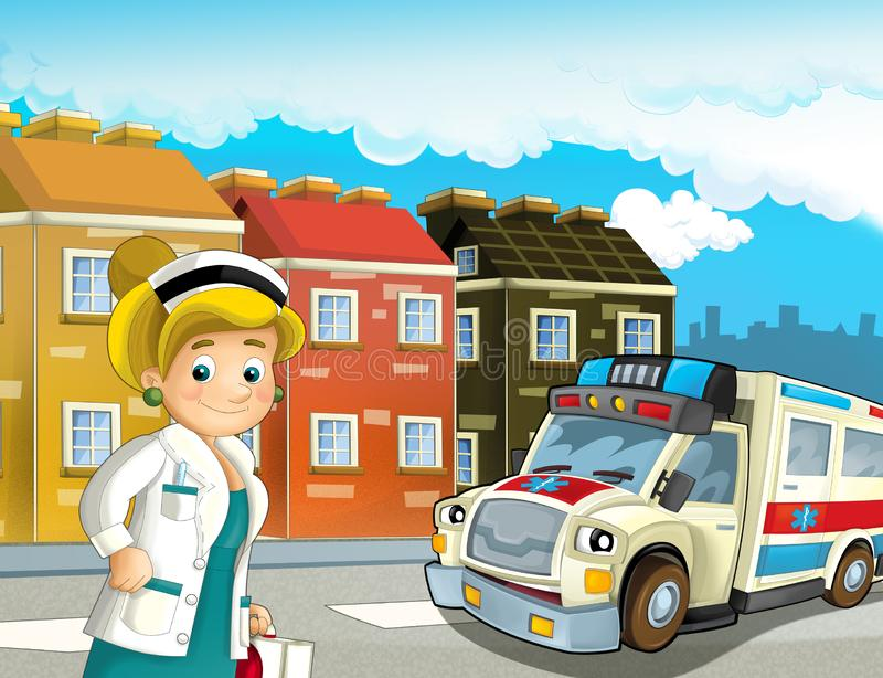 Cartoon scene in the city with doctor car happy ambulance. Illustration for children vector illustration