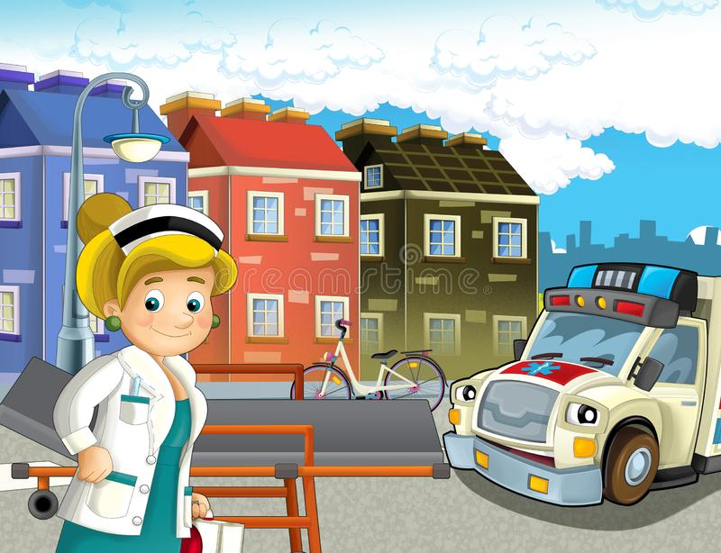 Cartoon scene in the city with doctor car happy ambulance. Illustration for children stock illustration