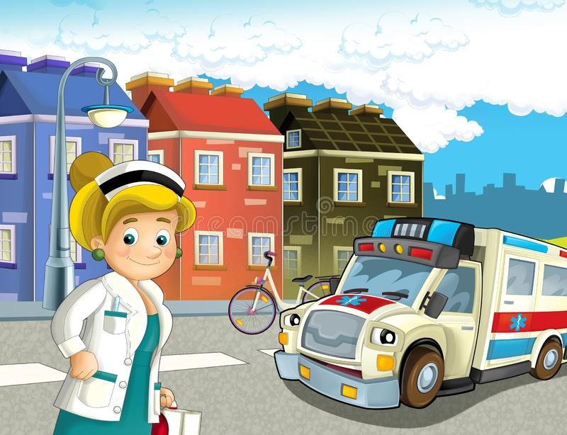Cartoon scene in the city with doctor car happy ambulance. Illustration for children royalty free illustration