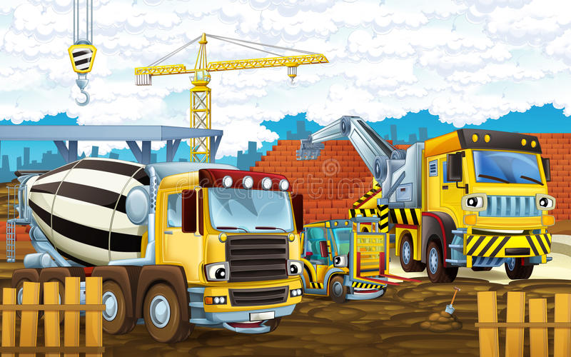 Cartoon Scene Construction Site Different Heavy Machines Working Men