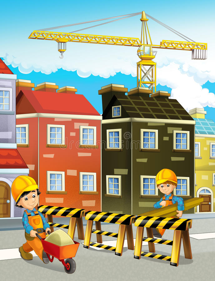 Cartoon scene of a construction site road woks with working men. Beautiful and colorful illustration for the children - for different usage - for fairy tales stock illustration