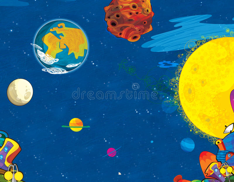 Cartoon scene of cosmos city - nobody on the stage - background for different usage - ufo. Beautiful and colorful illustration for the children stock illustration