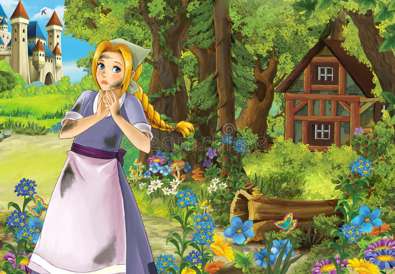Cartoon scene with cute charming farm girl near the wood with wooden house. Beautiful and colorful illustration for the children - for different usage vector illustration
