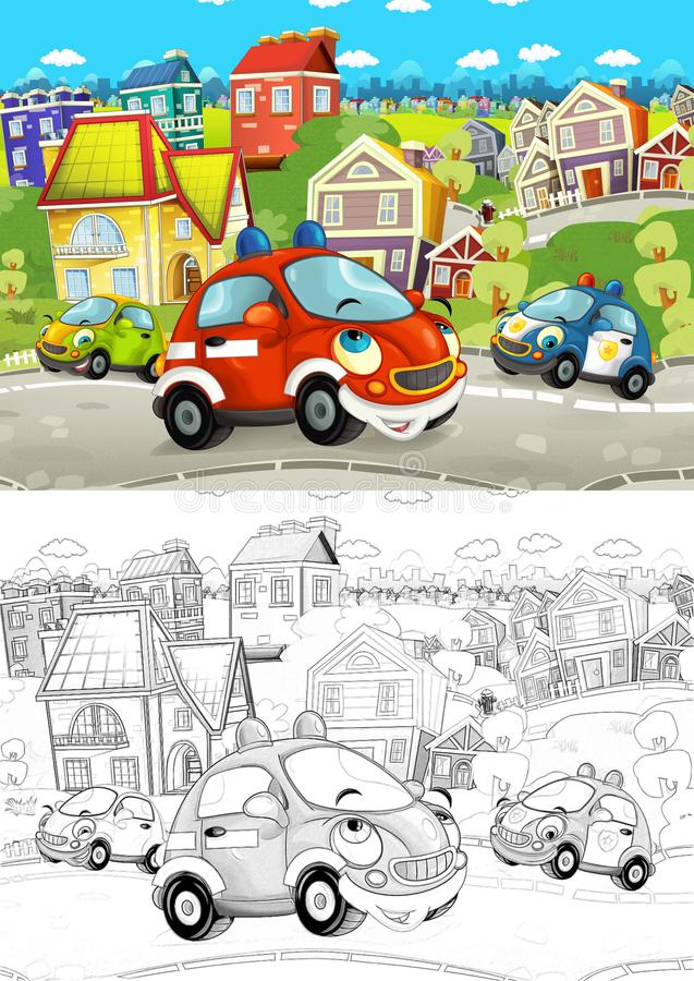 Cartoon scene with different cars driving on the city street like police and fire brigade with artistic coloring page. Illustration for children royalty free illustration