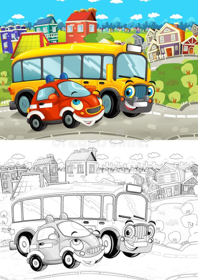 Cartoon scene with different cars driving on the city street like school bus and fire brigade with artistic coloring page. Illustration for children stock illustration