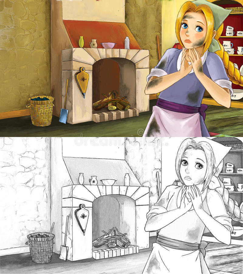 Cartoon scene for different fairy tales - young girl dressed dirty standing and listening in the kitchen - coloring page. Colorful and beautiful illustration for stock illustration