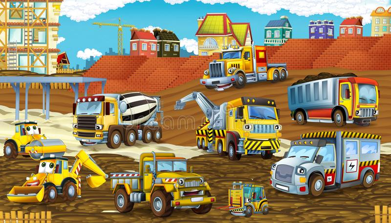 Cartoon scene with different happy construction site vehicles. Illustration for children royalty free illustration