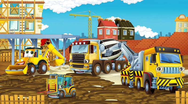 Cartoon scene with different happy construction site vehicles vector illustration
