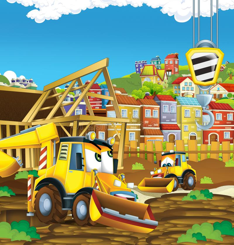 Cartoon scene with digger excavator on construction site. Illustration for the children vector illustration