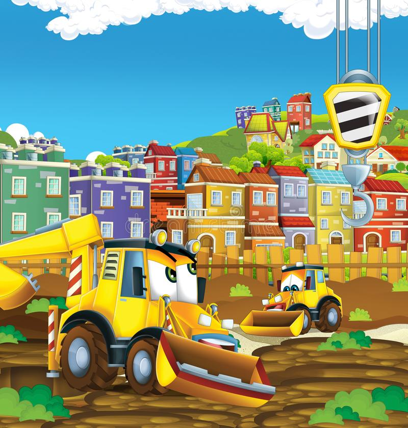 Cartoon scene with digger excavator on construction site. Illustration for the children royalty free illustration