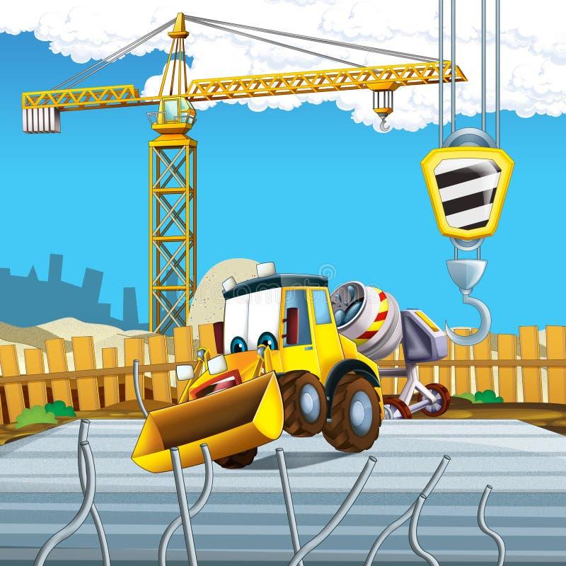 Cartoon scene with digger excavator or loader on construction site. Illustration for the children royalty free illustration