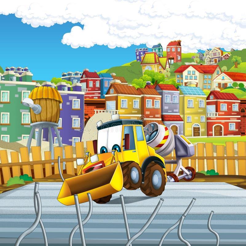 Cartoon scene with digger excavator or loader on construction site. Illustration for the children stock illustration