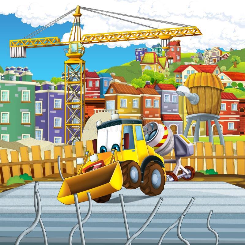 Cartoon scene with digger excavator or loader on construction site. Illustration for the children vector illustration