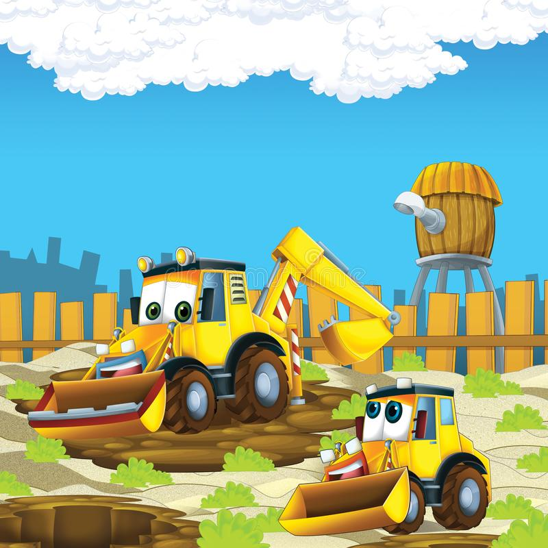 Cartoon scene with diggers excavators on construction site father and son. Illustration for the children stock illustration