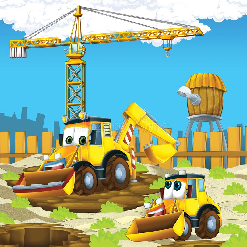 Cartoon scene with diggers excavators on construction site father and son. Illustration for the children royalty free illustration