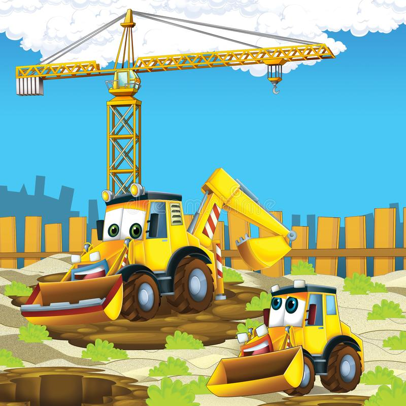 Cartoon scene with diggers excavators on construction site father and son. Illustration for the children vector illustration