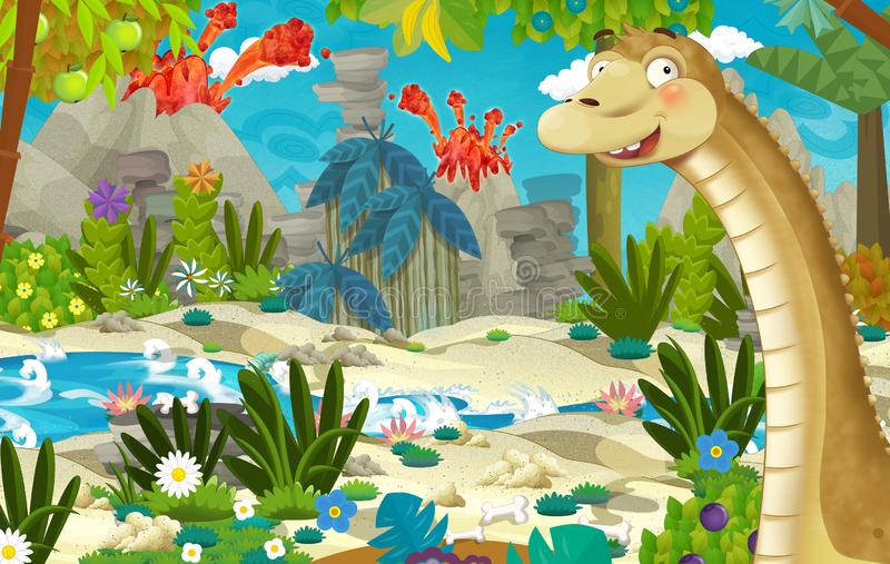Cartoon scene with dinosaur diplodocus in the jungle near the river and volcano in the background stock illustration