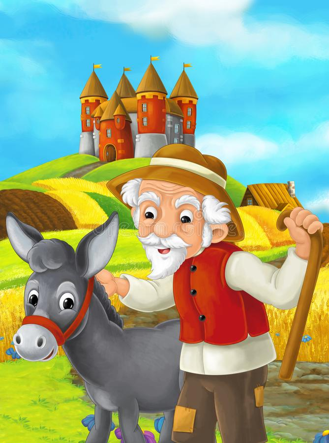 Cartoon scene with farmer and donkey working in the field standing near the castle - illustration for children stock illustration