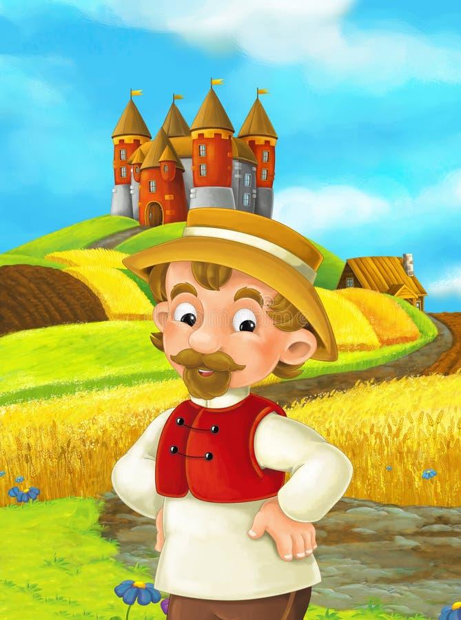 Cartoon scene farmer working in the field standing near the castle stock illustration