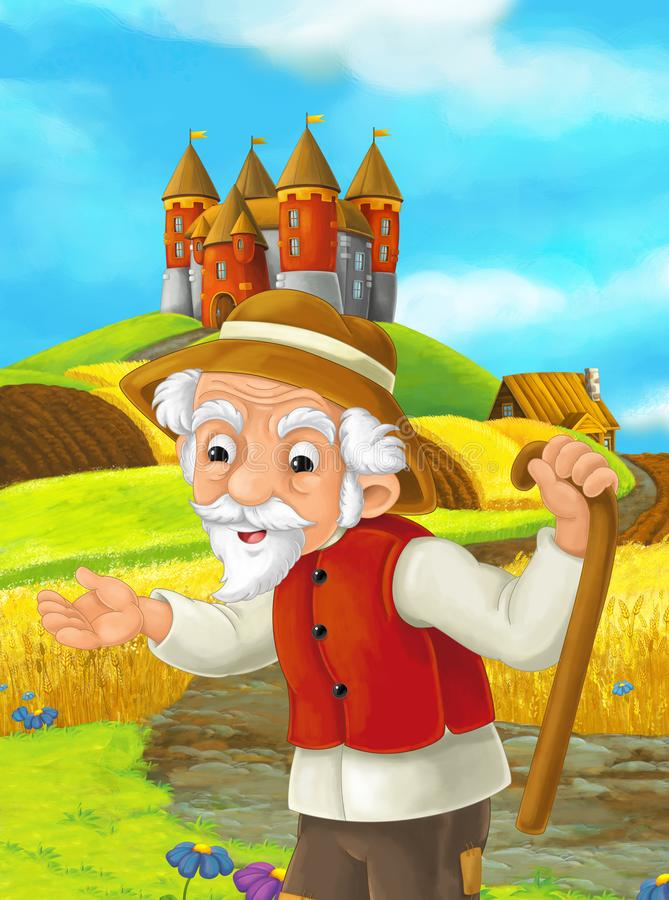Cartoon scene with farmer in the field standing near castle vector illustration