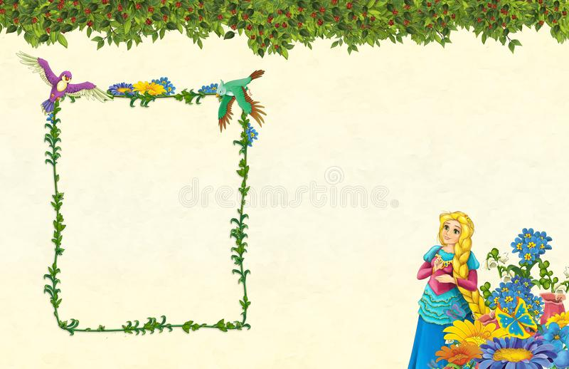 Cartoon scene with floral frame - beautiful girl - princess- title page with space for text. Beautiful and colorful illustration for the children - for different stock illustration