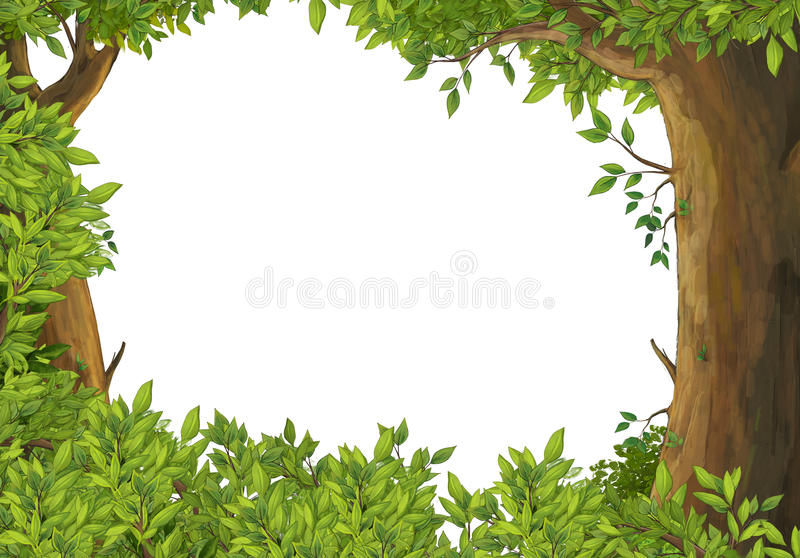 Cartoon scene of forest - border - stage for different usage. Happy and colorful traditional illustration for children royalty free illustration